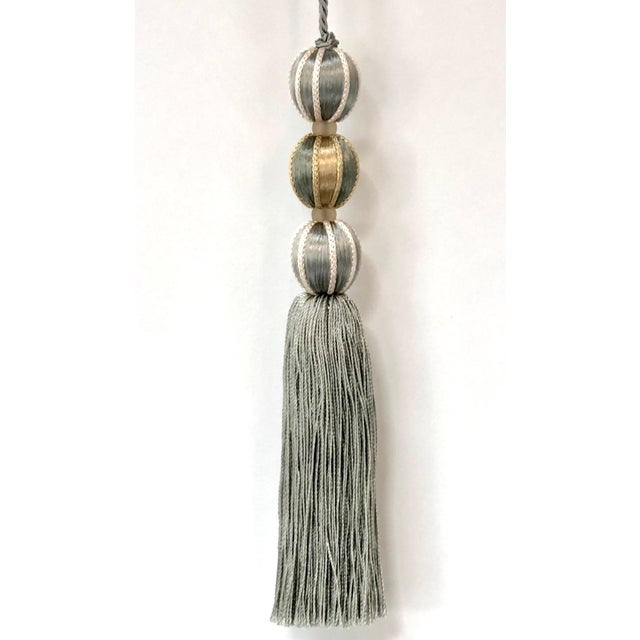 Boho Chic French Blue Tall Beaded Key Tassel - Height 7.5 Inches For Sale - Image 3 of 8