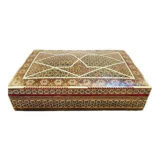 Syrian Mother-Of-Pearl Bone Inlay Box For Sale