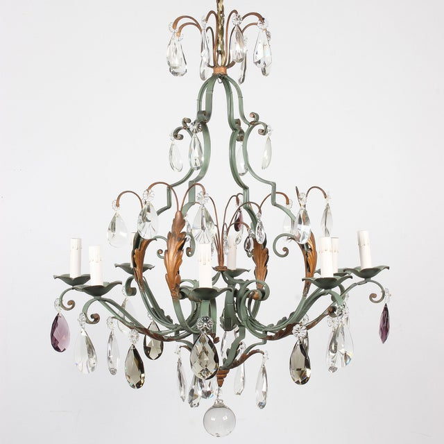 Art Nouveau Vintage French 8-Light Painted Iron and Crystal Chandelier For Sale - Image 3 of 12