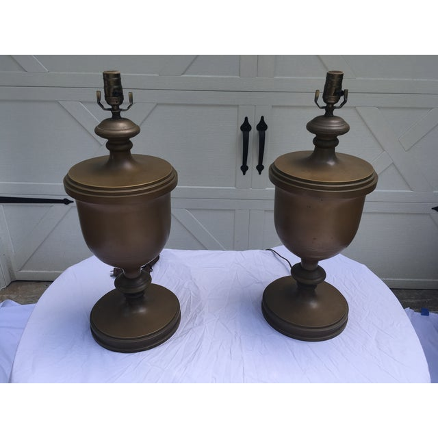 Traditional Chapman Brass Urn Lamps, a Pair For Sale - Image 3 of 10