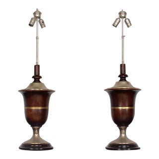Pair of Neoclassical Table Lamps in Mahogany & Nickel-Plated, Mexican Modernist For Sale