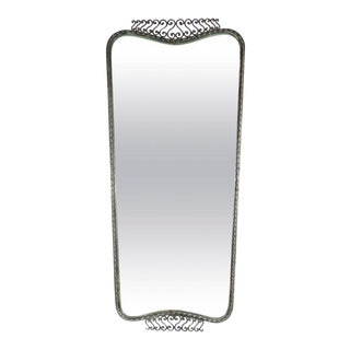 Sophisticated Art Deco Wrought Iron Shield Form Mirror with Scroll Detailing For Sale