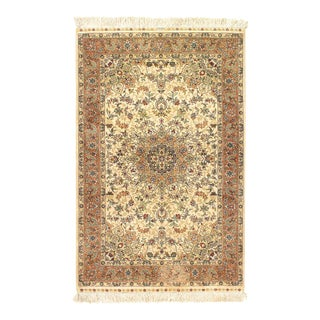Ivory Fine Hand Knotted Pure Silk Hereke 2'7'' X 4' For Sale