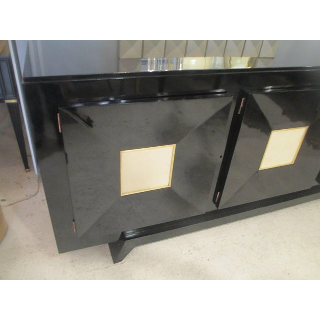 French Ebonized Sideboard with Parchment Doors For Sale - Image 10 of 13