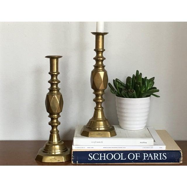 Antique Diamond Prince Brass Candlesticks - A Pair - Image 10 of 10