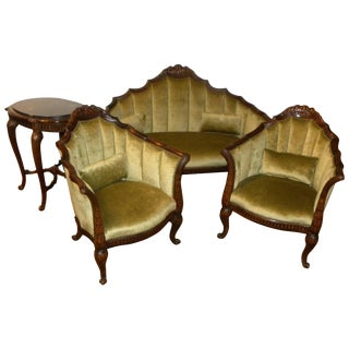 French Art Deco Settee, Chairs and Table in the Style of Paul Follot For Sale