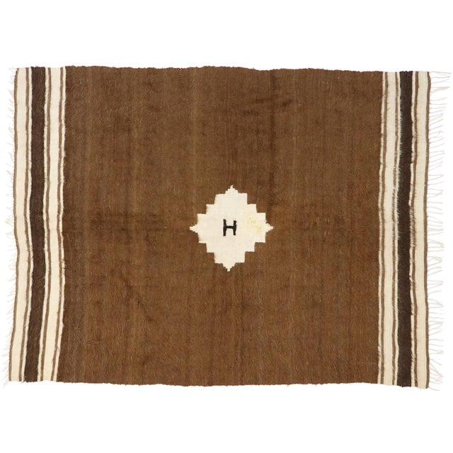 Vintage Turkish Kilim Rug, Square Flat-Weave Rug - 04'03 X 05'05 For Sale - Image 9 of 9