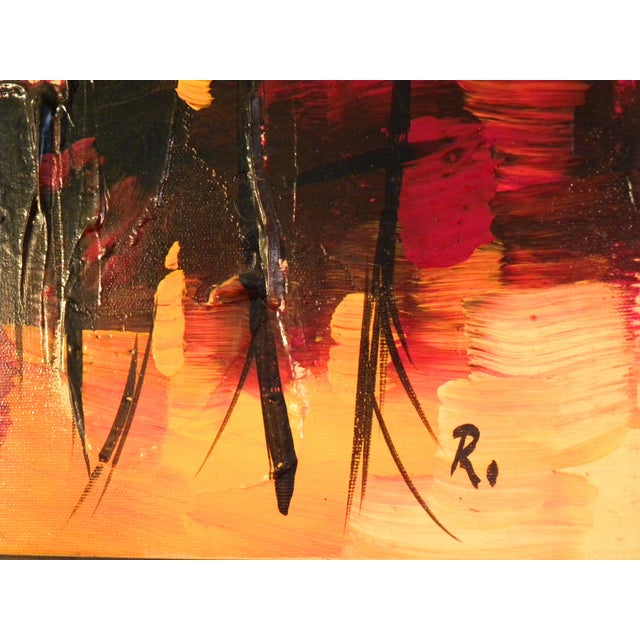 Mid-Century Modern Orange Abstract Painting - Image 6 of 7