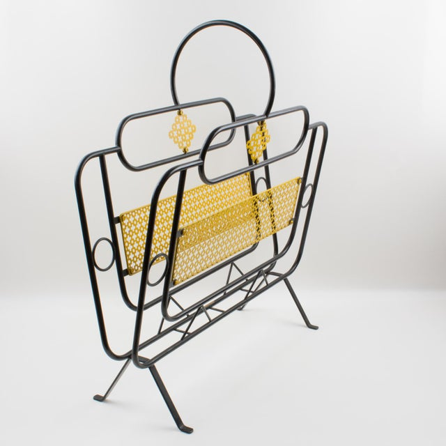 1950s Mathieu Mategot Style Metal Magazine Holder Rack For Sale - Image 5 of 13