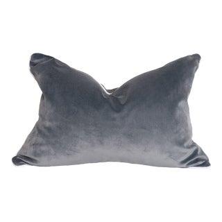 Contemporary Slate Gray Velvet Pillow With White Welt - 16 X 24 For Sale