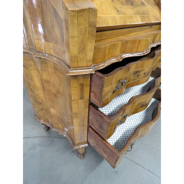 Mid 20th Century Vintage Olivewood Secretary Desk For Sale - Image 5 of 11