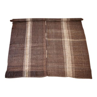 Vintage Turkish Rug in Cocoa Brown and Light Natural Stripes Double Wide For Sale