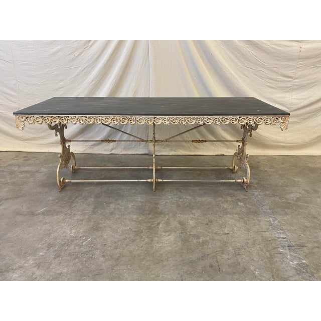 Metal French Pastry Table With Iron Base - 19th C For Sale - Image 7 of 12