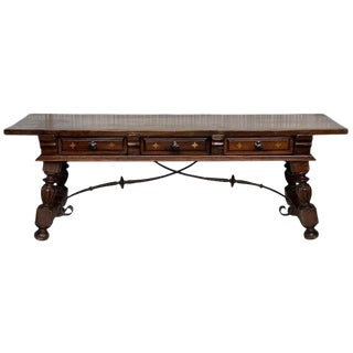 18th Spanish Bench or Low Console Table With Marquetry Drawers & Iron Stretcher For Sale