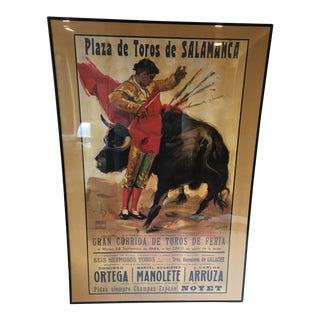 Vintage Plaza De Toros De Salamanca Bullfight Poster
