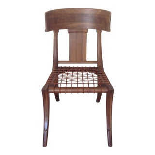 Modern Medellin Mid-Century Style Solid Walnut Klismos Dining Chair For Sale