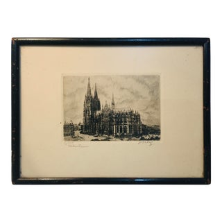 Finely Etched 19th Century Signed Cathedral Print For Sale