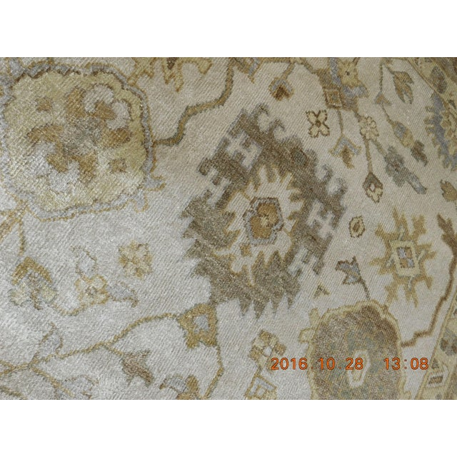 "Islamic Hand Knotted Bamboo Silk Indo Ushak Rug -7'10""x 10' For Sale - Image 3 of 9"