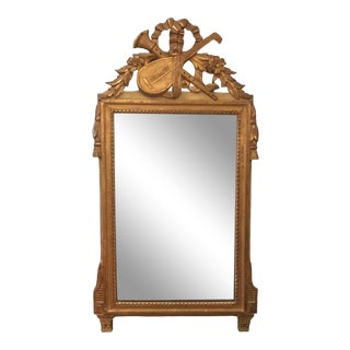 Antique French Carved Louis XVI Style Musical Instruments Giltwood Mirror For Sale