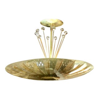 Gerald Thurston for Lightolier Brass, Glass and Crystal Chandelier For Sale