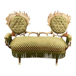 1880s Two Seater Antler Settee For Sale