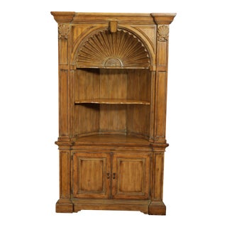 Georgian Style Large Shell Carved Architectural Corner Cabinet For Sale