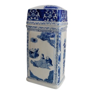 Chinoiserie Blue and White Canister For Sale