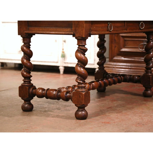 19th Century French Louis XIII Carved Oak Barley Twist Table Desk For Sale - Image 11 of 13
