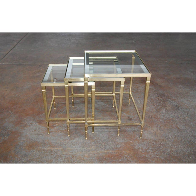 Circa 1950, Italian, Mid-Century Modern, Brass & Mirrored Glass, Nesting Tables - Set Of For Sale - Image 4 of 10