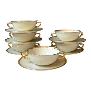 1950s Lenox Tuxedo Cream Soup Bowls & Saucers - Set of 6