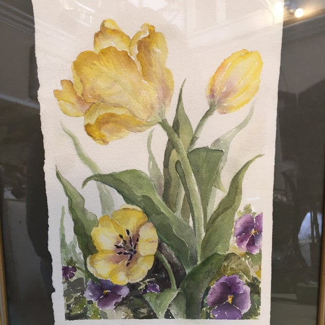 Floral Watercolor in Gold Frame For Sale - Image 4 of 6