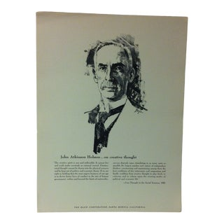 """1962 """"John Atkinson Hobson - on Creative Thought"""" The Rand Corporation Famous People in History Print For Sale"""