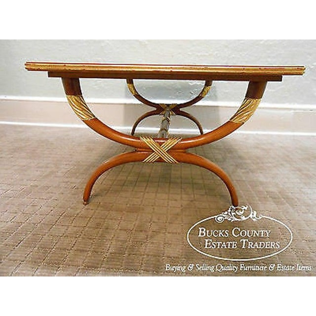 Traditional High Quality French Regency Directoire X Base Coffee Table W/ Gilt Accents For Sale - Image 3 of 11