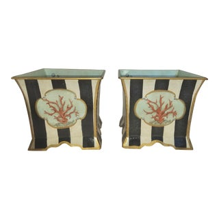 Porter Starr Hand Painted Black and White Striped Tole Cachepot With Coral Motifs - a Pair For Sale
