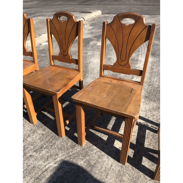 Art Deco Style Wooden Side Dining Chairs -Set of 4 For Sale - Image 9 of 13