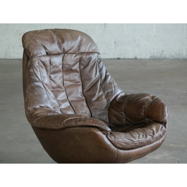 HW Klein Danish Mid-Century Brown Leather Egg Chair with Ottoman by H. W. Klein For Sale - Image 4 of 13