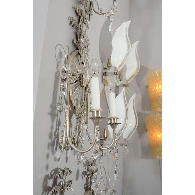 Pair of 19th Century Silver Leaf and Crystal Sconces For Sale - Image 4 of 7