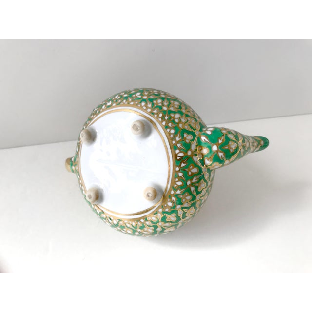 Antique Old Paris Porcelain Green and Gold Teapot For Sale - Image 9 of 10