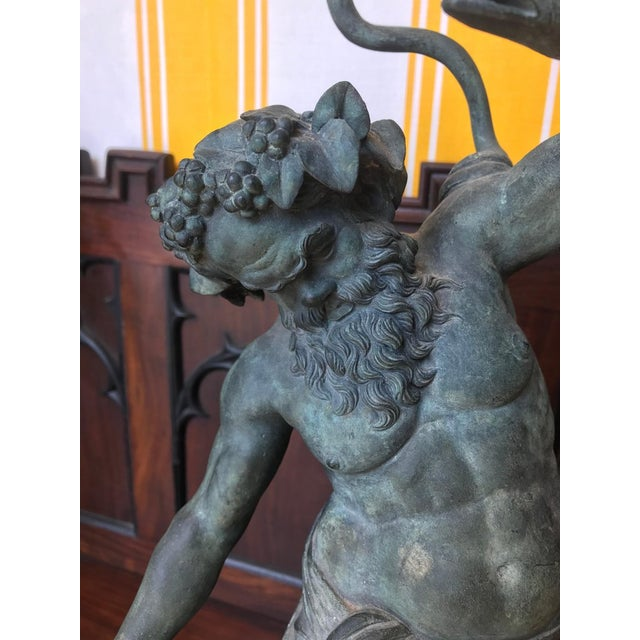 Figurative 19th Century Grand Tour Patinated Bronze Silenus Lamp For Sale - Image 3 of 8