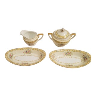 Noritake Gramatan Hand Decorated Cream, Sugar and Olive or Pickle Dishes - 4 Pieces For Sale