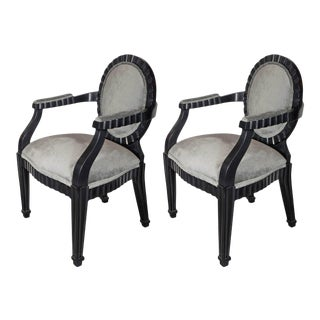 Pair of Mid-Century Modernist Chairs by Donghia in Ebonized Walnut For Sale