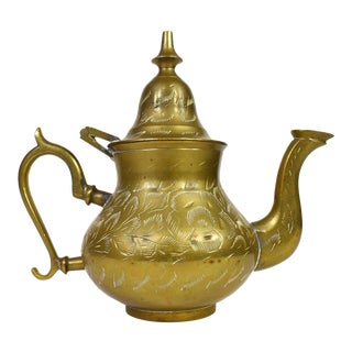 Vintage Handmade Floral Engraving Design Brass Teapot For Sale