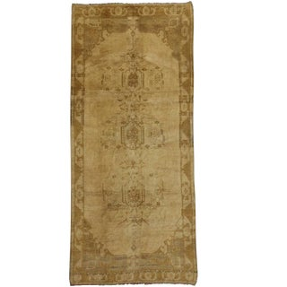 Vintage Turkish Oushak Carpet Runner with Modern Design in Neutral Colors