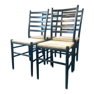 Black Lacquer & Papercord Rope Seat Ladder Back Dining Chairs - Set of 4