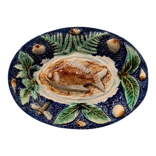 19th Century French Handpainted Ceramic Barbotine Fish Platter Palissy Style For Sale