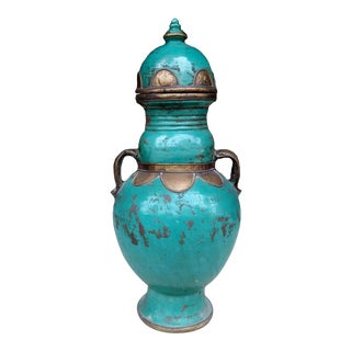 Green Moroccan Pottery Handcrafted Vase With Handles For Sale
