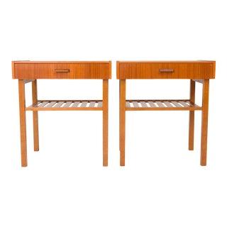 Vintage Danish Mid-Century Teak Bedside Tables With Slatted Shelf For Sale