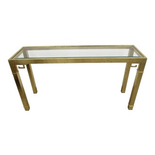 Mastercraft Brass Console Table with Greek Key Embellishments For Sale