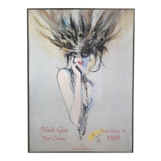1989 Mardi Gras New Orleans Signed and Numbered Framed Richard Ely Poster For Sale