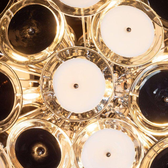 Early 21st Century Modernist Polished Chrome Chandelier With Handblown Murano Black and White Discs For Sale - Image 5 of 8